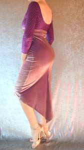 Iridescent Purple Bronze Velvet and Purple Crosshatch Burnout Velvet High Neckline Wiggle Dress with Sleeves - Choose Your Size