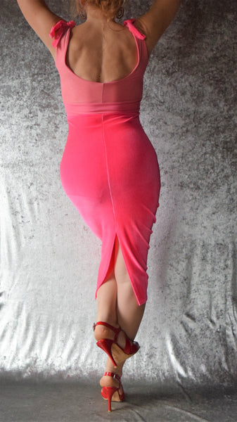 Pink Shimmer and Hot Pink Velvet Wiggle Dress with Ruched Neckline - Choose Your Size