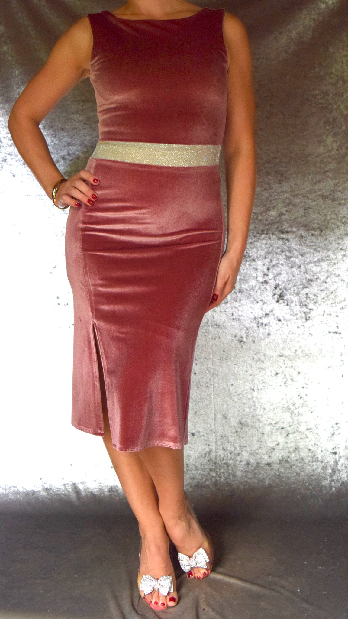 Velvet Dress with Front and Back Slits and Glitter Waistband (Shown in Dusty Rose) - Choose Your Size and Color