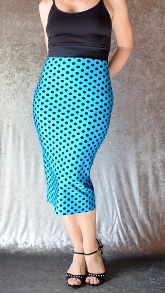 Polka Dot Pencil Skirt with Back Slit - Choose Your Color and Size