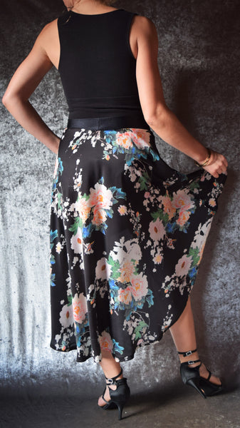 Black and Pink Peony Print Hi-Lo Silk Skirt - One of a Kind - Small