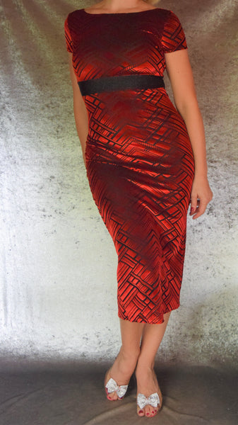 Red Art Deco Burnout Velvet Wiggle Dress - Choose Your Size