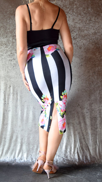 Black and White Striped Floral Pencil Skirt with Back Slit