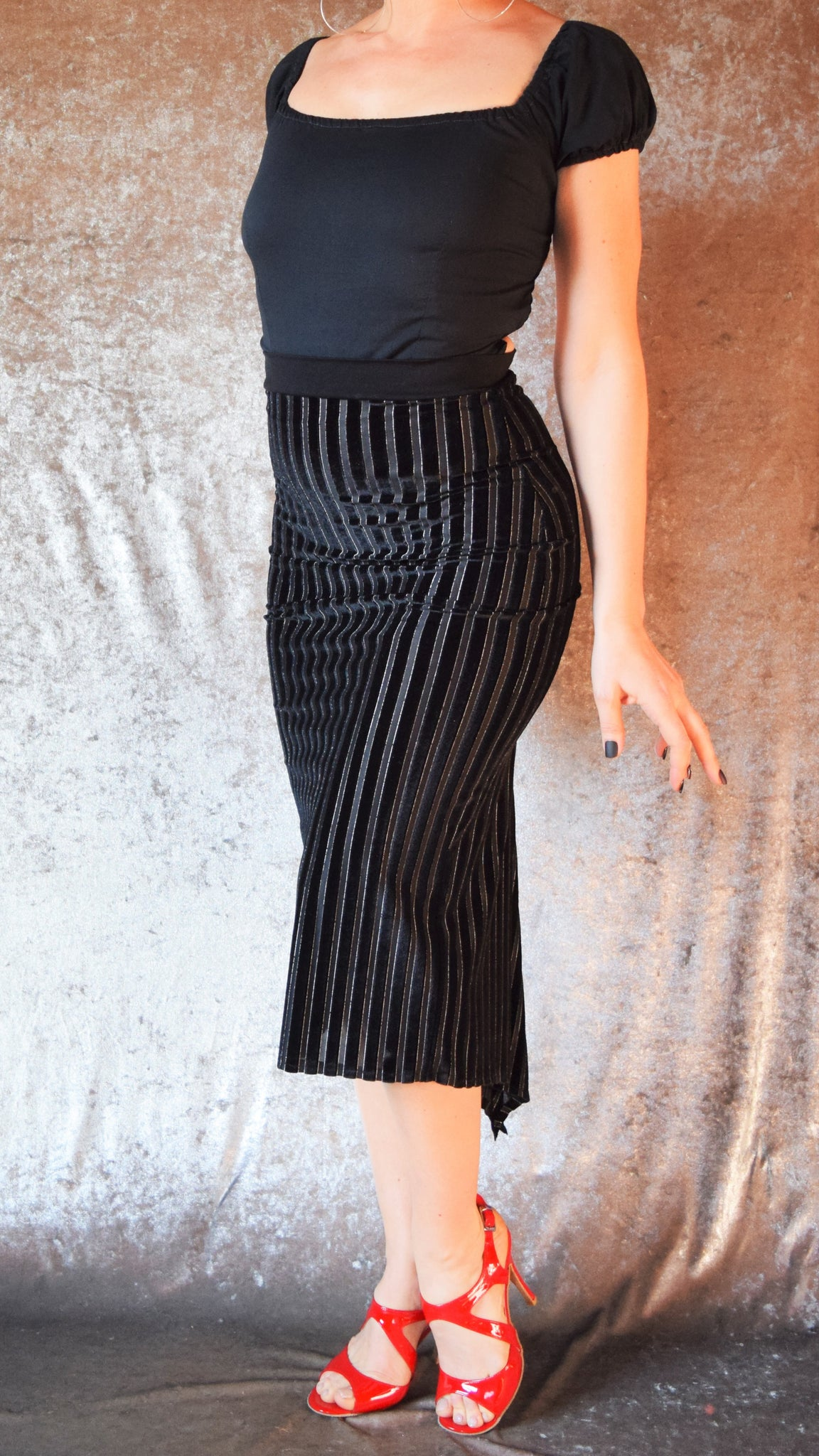 Black Pinstripe Burnout Velvet Fishtail Skirt - Choose Your Size