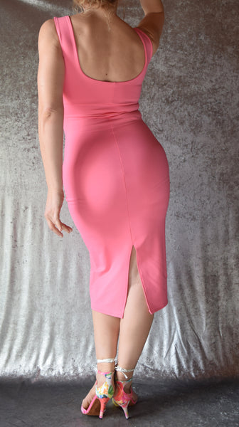 Solid Color High Neckline Wiggle Dress - Choose Your Color / Sleeves / Size
