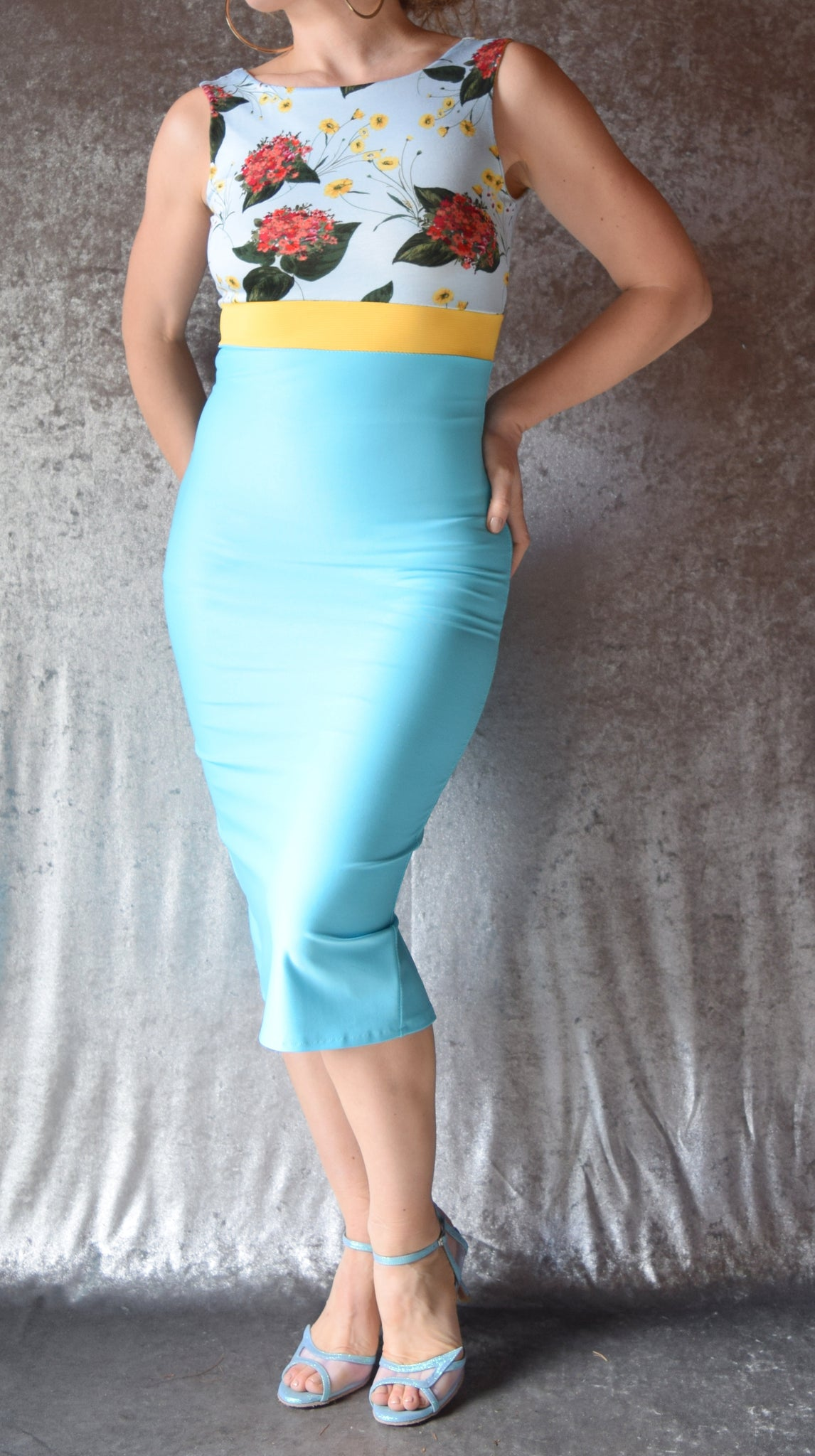 Aqua and Yellow Flowers High Neckline Wiggle Dress Sleeveless - Choose Your Size