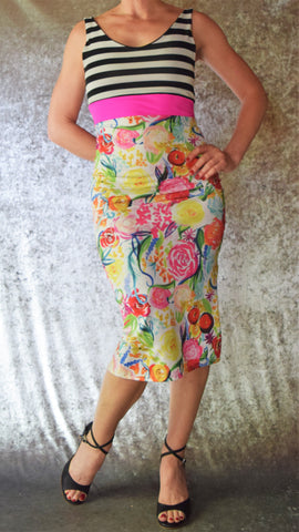 Striped Floral Wiggle Dress with Scoop Neck - Choose Your Size and Color