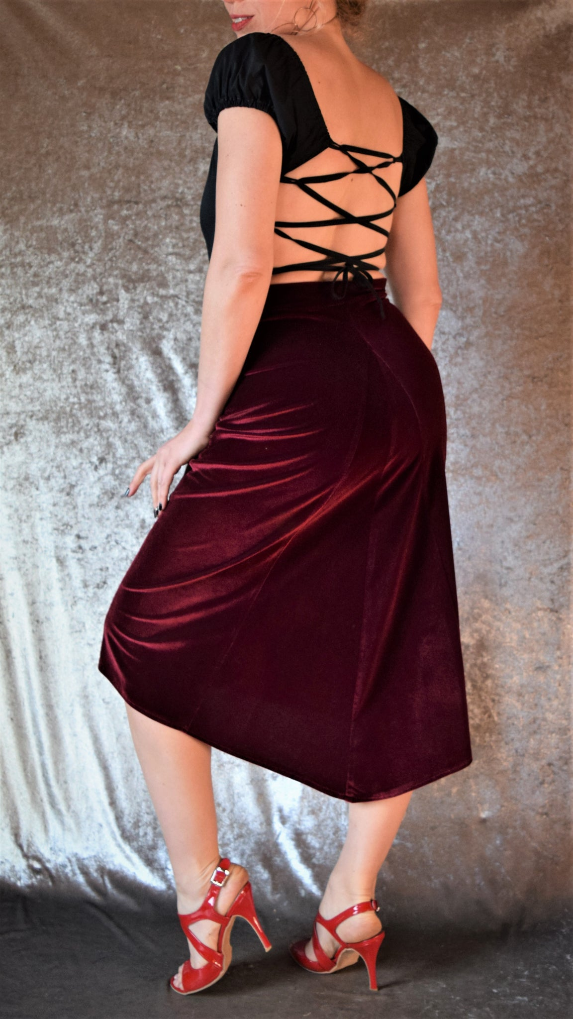 Velvet Godet Back Skirt (Shown in Burgundy Wine) - Choose Your Size and Color