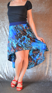 Blue and Brown Swirling Marbled Print Hi-Lo Silky Skirt - One of a Kind - Small