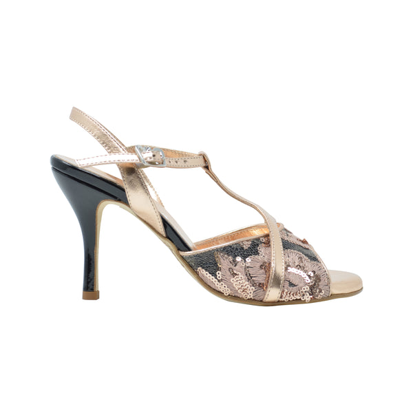 Size 7 - Kyoto in Rose Gold with Black and Embroidered Floral Sequin Design - Regina