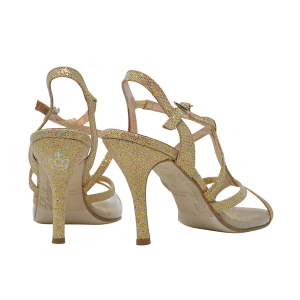 Size 7.5 - Oriental Pearl in Transparent with Disco Ball Gold Glitter Outlines - Regina