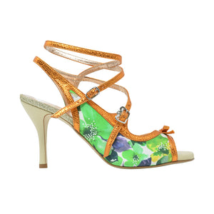 Size 9 - Pigalle in Green Floral with Metallic Orange Outlines - Regina