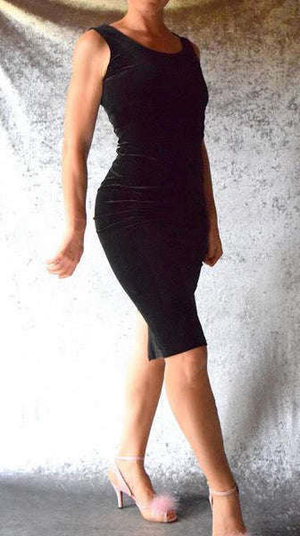 Ebony Black Velvet Wiggle Dress - Choose Your Size
