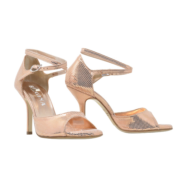 Size 9 - California SLIM in Mesh-Embossed Metallic Rose' Leather - Regina