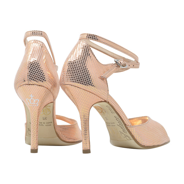 Size 7 - California SLIM in Mesh-Embossed Metallic Rose' Leather - Regina