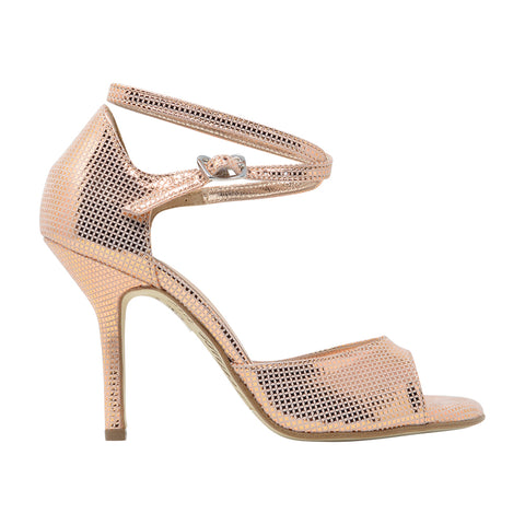 Size 5 - California SLIM in Mesh-Embossed Metallic Rose' Leather - Regina