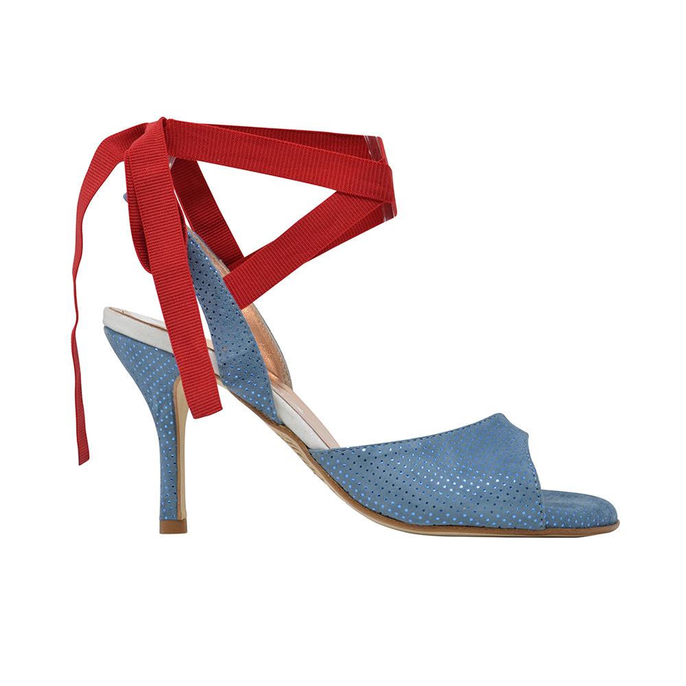 Size 5 - Cote d'Azur in Blue Dotted Suede with Red Ribbons - Regina