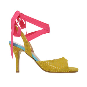 Size 7 - Cote d'Azur in Mustard Yellow Dotted Suede with Hot Pink Ribbons - Regina