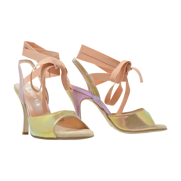 Size 5 - Cote d'Azur in Iridescent Gold with Millennial Pink Grosgrain Ribbons - Regina