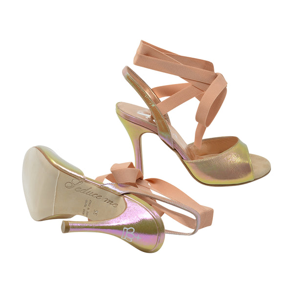 Size 8 - Cote d'Azur in Iridescent Gold with Millennial Pink Grosgrain Ribbons - Regina