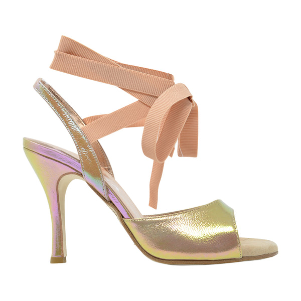 Size 5 - Cote d'Azur SLIM in Iridescent Gold with Millennial Pink Grosgrain Ribbons - Regina