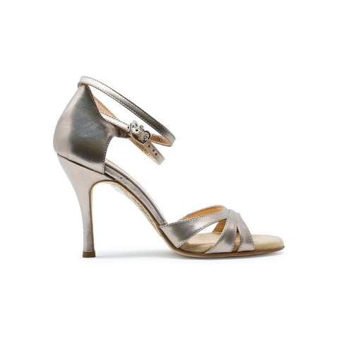 Size 5 - Eva3 Twins Slim in 'Eyeshadow' Antique Gold Leather - Regina