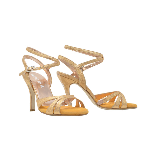 Size 5 - Eva3 Twins in Metallic Golden Apricot Textured Leather - Regina