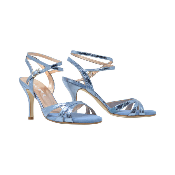 Size 6 - Eva3 Twins in Metallic Ocean Blue Foil Leather - Regina