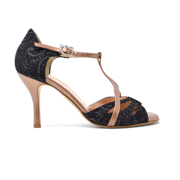 Size 5 - Florida in Black Lace Print with Copper Leather - Regina