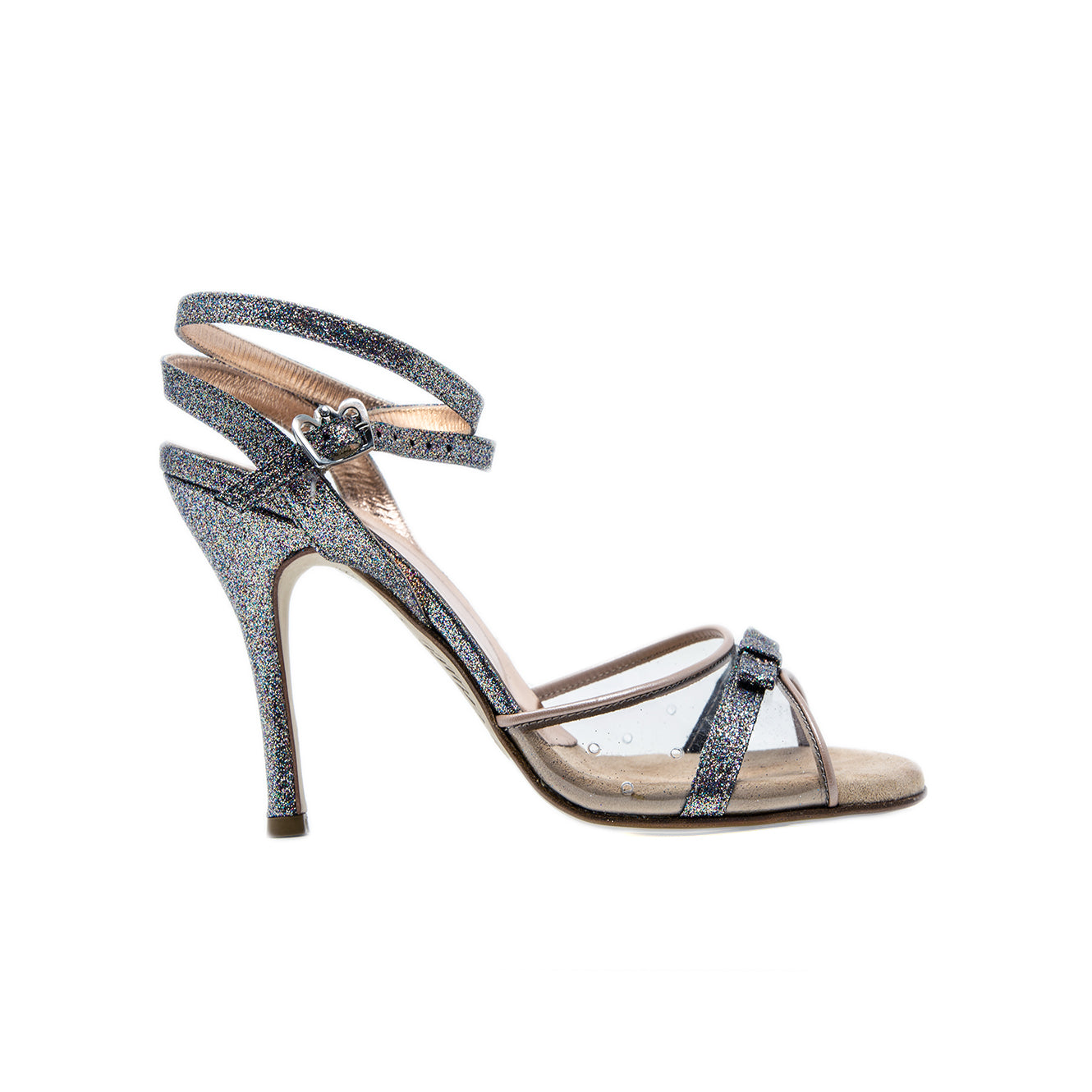 Size 7 - Ginza Slim Twins in Transparent with Multicolor Silver Glitter and Beige Patent - Regina