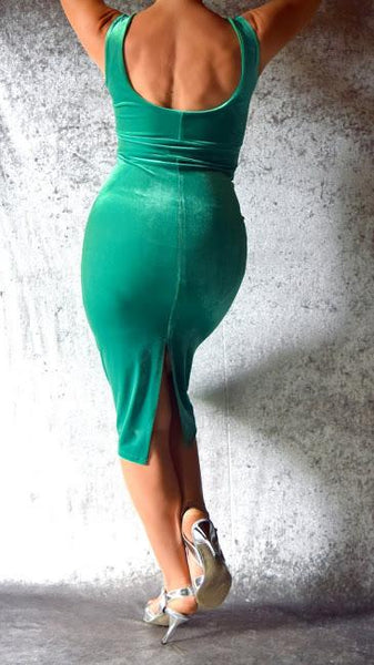 Kelly Green Velvet Wiggle Dress - Choose Your Size