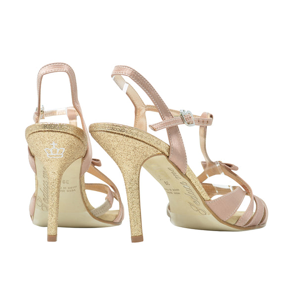 Size 5 - Hollywood in Imperial Beige Satin with Glitter Heel - Regina