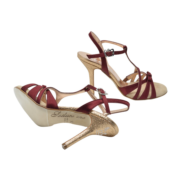 Size 9 - Hollywood in Burgundy Satin with Glitter Heel - Regina