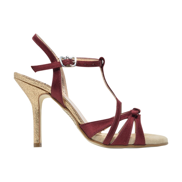 Size 5 - Hollywood in Burgundy Satin with Glitter Heel - Regina