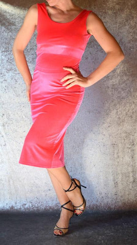 Hot Pink Velvet Wiggle Dress - Choose Your Size