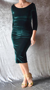 Hunter Green Velvet Long Sleeve Wiggle Dress