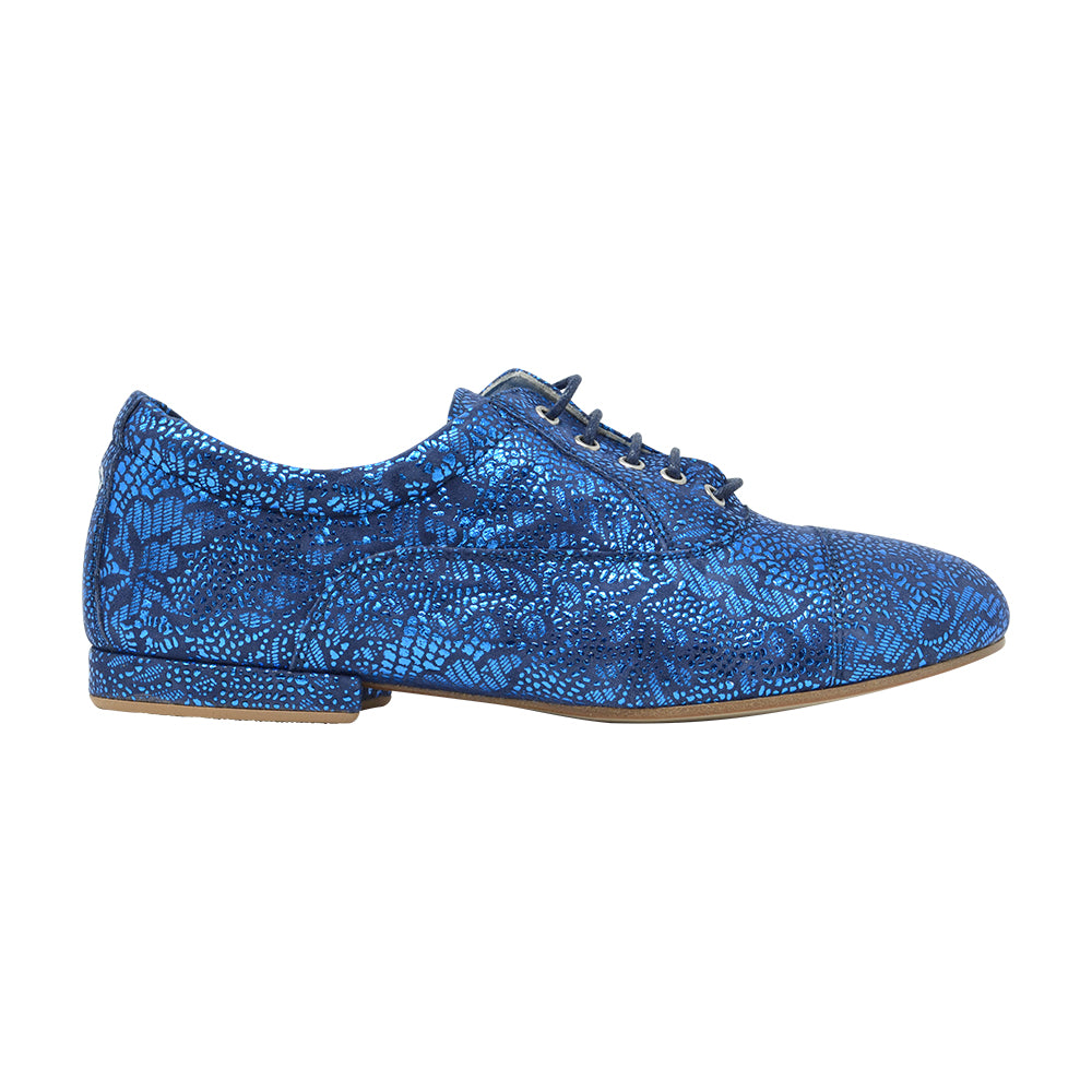 Size 7 - Katy in Electric Blue with Floral Pattern - Regina