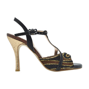 Size 7 - Kyoto in Brown, Black, and Gold Glitter - Regina