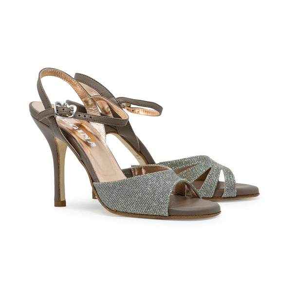 Size 6 - Lolita in Shimmering Silver and gold Lurex with Taupe Leather - Regina