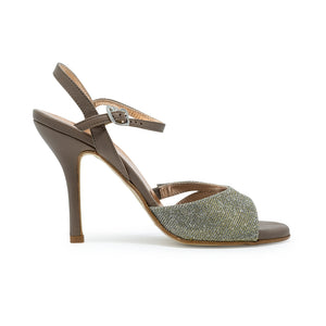 Size 9 - Lolita in Shimmering Silver and Gold Lurex with Taupe Leather - Regina