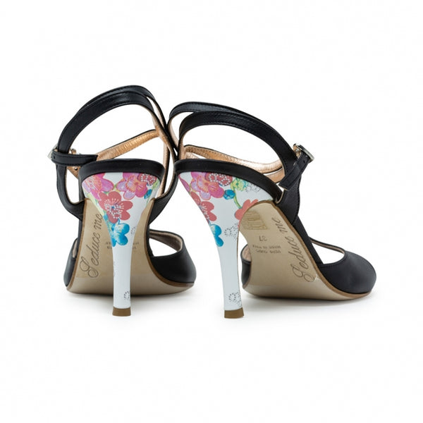 Size 9 - Nizza Twins in Black Leather with White Floral Heel - Regina