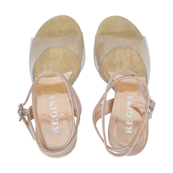 Size 6 - Nizza Twins in Clear with Gold Glitter - Regina