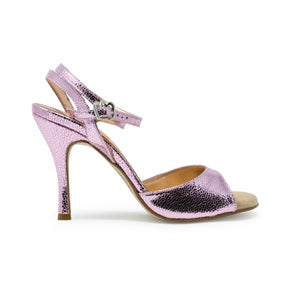Size 4 - Nizza Twins in Pink Crackle Foil Leather - Regina
