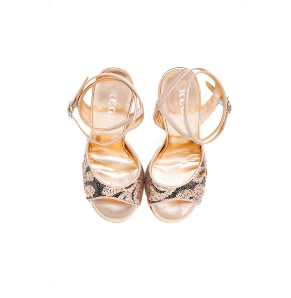 Size 5 - Nizza Twins in Black with Rose Gold Sequins - Regina SALE!