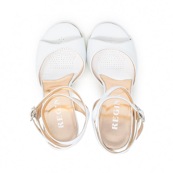 Size 7 - Nizza Twins in White Leather with Floral Heel - Regina