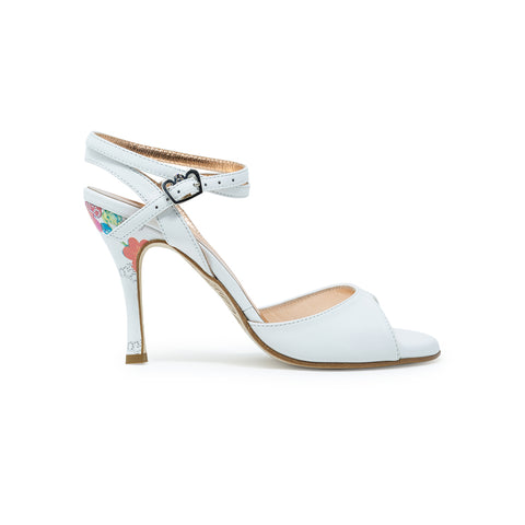 Size 5 - Nizza Twins in White Leather with Floral Heel - Regina
