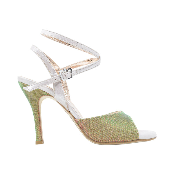 Size 8 - Nizza Twins in Holographic Gold Lurex with Palest Pink Straps - Regina
