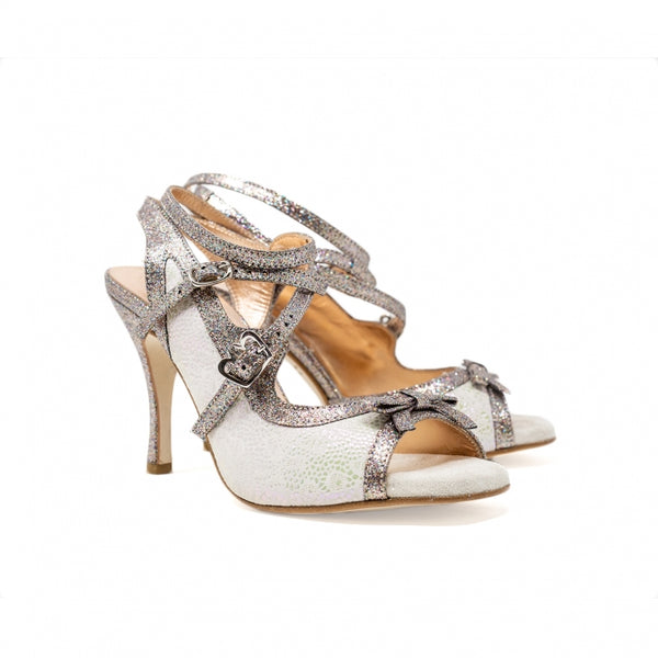 Size 5 - Pigalle in Ivory Lace with Silver Multi Glitter - Regina