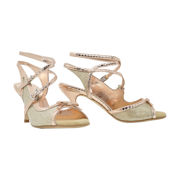 Size 8 - Pigalle in Shiny Textured Gold with Rose Gold Leather Outlines - Regina
