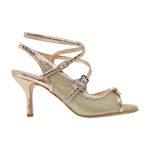 Size 7 - Pigalle in Shiny Textured Gold with Rose Gold Leather Outlines - Regina